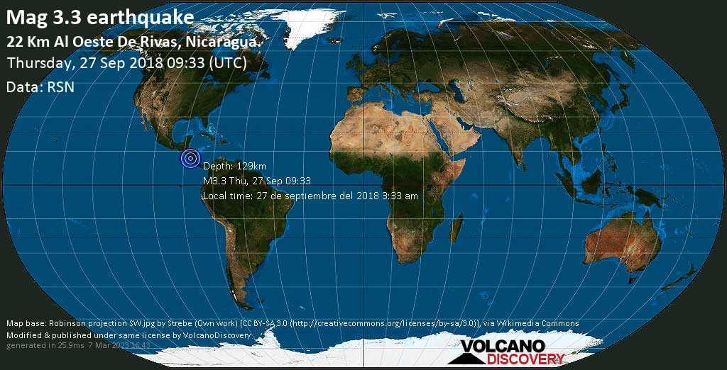 Minor mag. 3.3 earthquake  - 22 km al Oeste de Rivas, Nicaragua. on Thursday, 27 September 2018