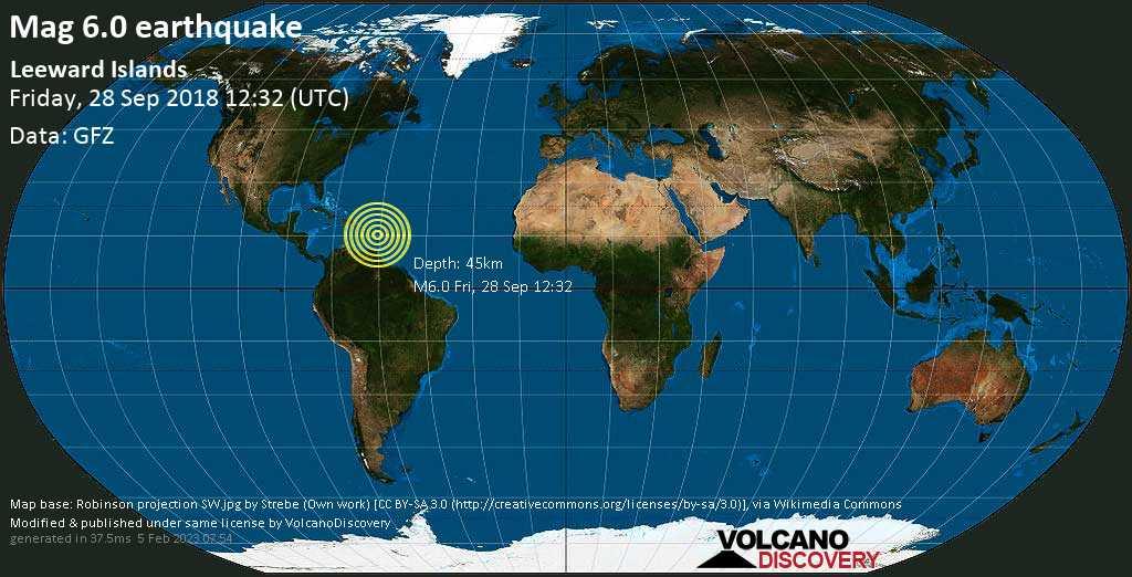Strong mag. 6.0 earthquake  - Leeward Islands on Friday, 28 September 2018