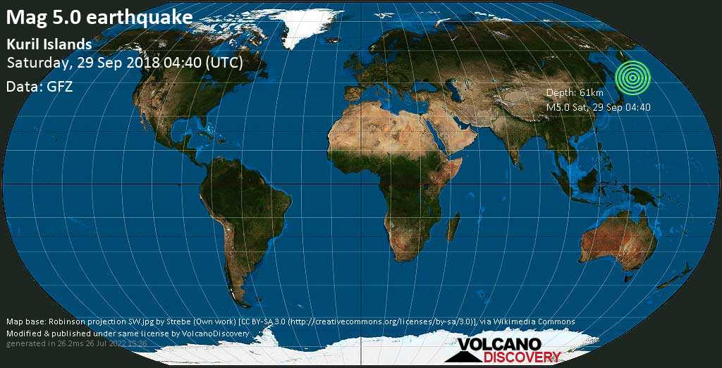 Moderate mag. 5.0 earthquake  - Kuril Islands on Saturday, 29 September 2018