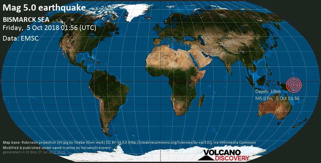 Moderate mag. 5.0 earthquake  - BISMARCK SEA on Friday, 5 October 2018