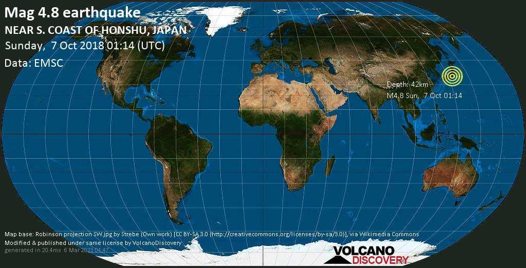 Light mag. 4.8 earthquake  - NEAR S. COAST OF HONSHU, JAPAN on Sunday, 7 October 2018