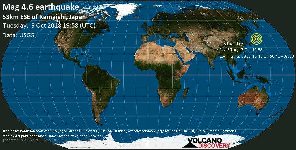 Light mag. 4.6 earthquake  - 53km ESE of Kamaishi, Japan on Tuesday, 9 October 2018