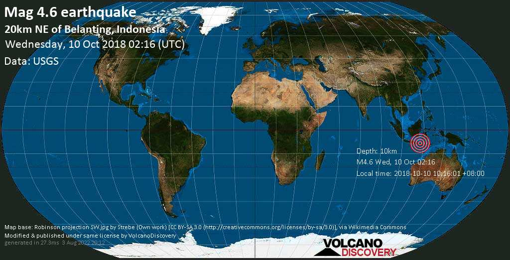 Light mag. 4.6 earthquake  - 20km NE of Belanting, Indonesia on Wednesday, 10 October 2018