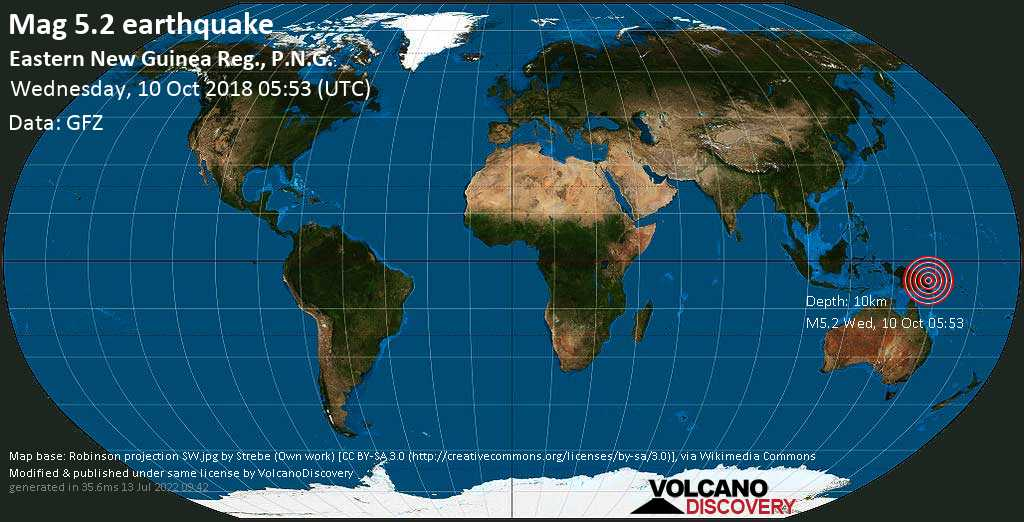 Moderate mag. 5.2 earthquake  - Eastern New Guinea Reg., P.N.G. on Wednesday, 10 October 2018