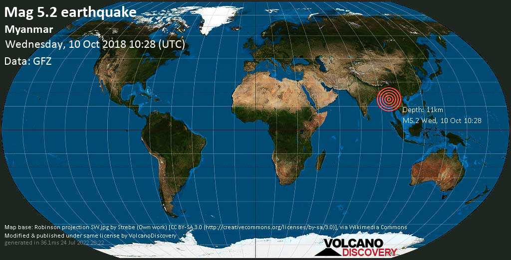 Moderate mag. 5.2 earthquake  - Myanmar on Wednesday, 10 October 2018