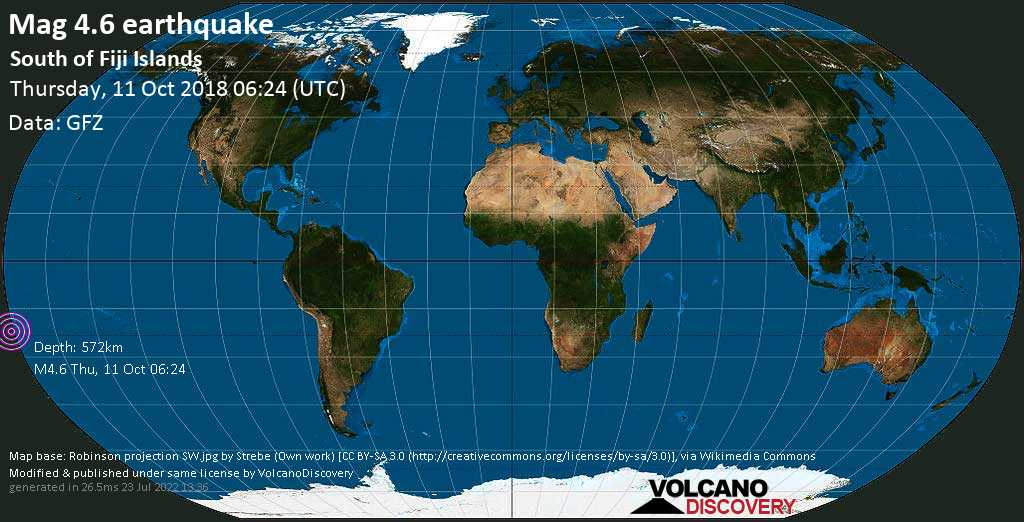 Light mag. 4.6 earthquake  - South of Fiji Islands on Thursday, 11 October 2018
