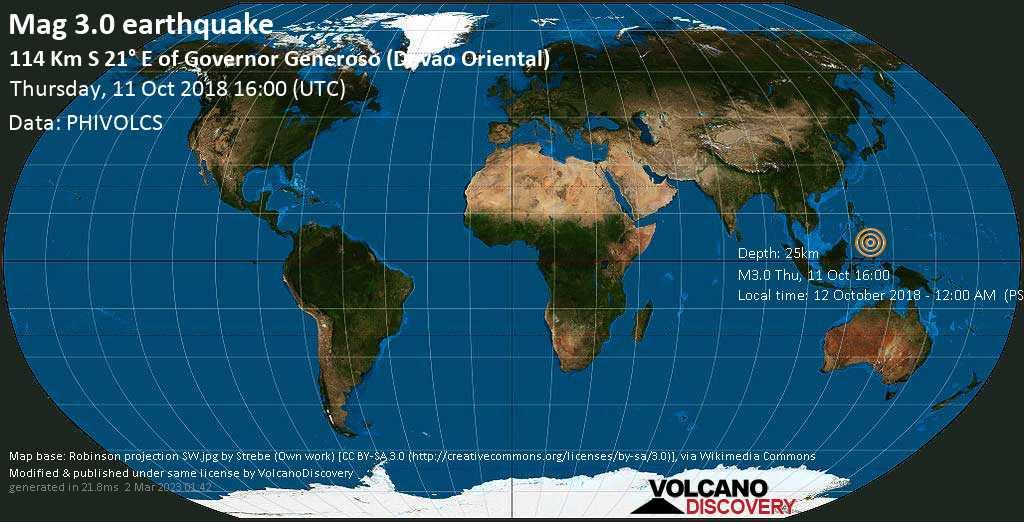 Minor mag. 3.0 earthquake  - 114 km S 21° E of Governor Generoso (Davao Oriental) on Thursday, 11 October 2018