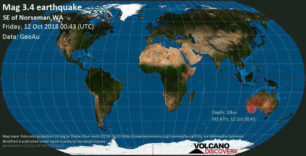 Minor mag. 3.4 earthquake  - SE of Norseman,WA on Friday, 12 October 2018