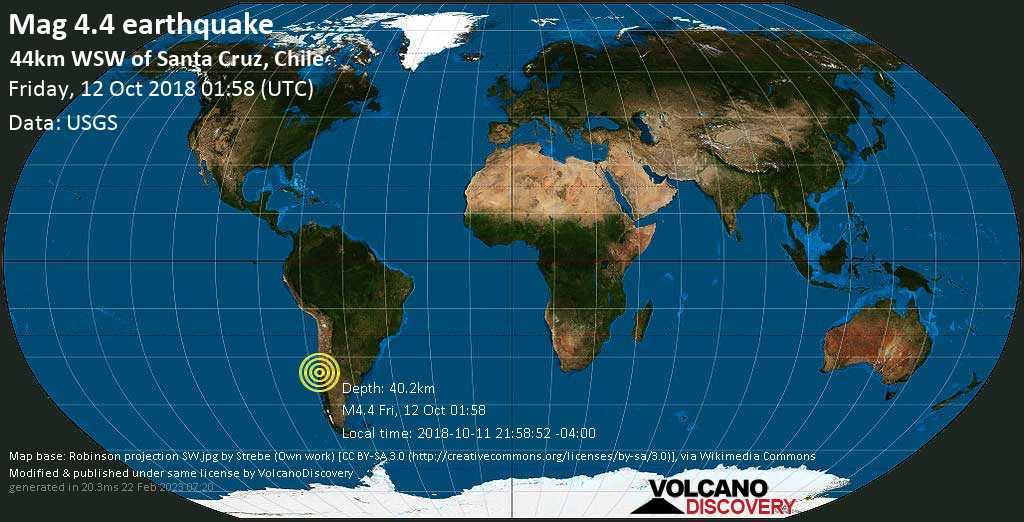 Light mag. 4.4 earthquake  - 44km WSW of Santa Cruz, Chile on Friday, 12 October 2018