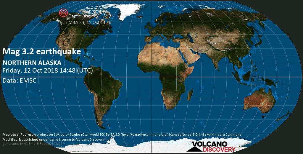 Minor mag. 3.2 earthquake  - NORTHERN ALASKA on Friday, 12 October 2018