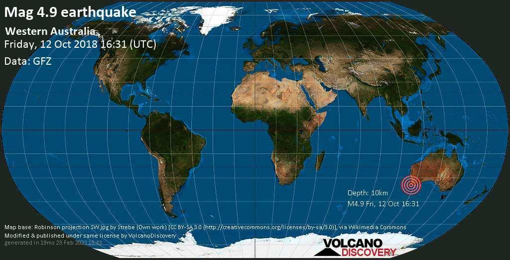 Light mag. 4.9 earthquake  - Western Australia on Friday, 12 October 2018