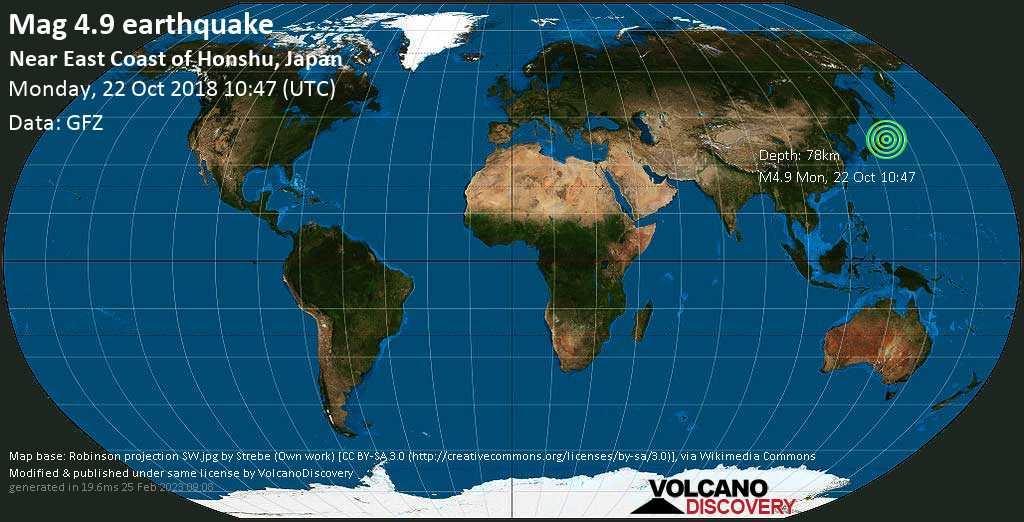 Light mag. 4.9 earthquake  - Near East Coast of Honshu, Japan on Monday, 22 October 2018