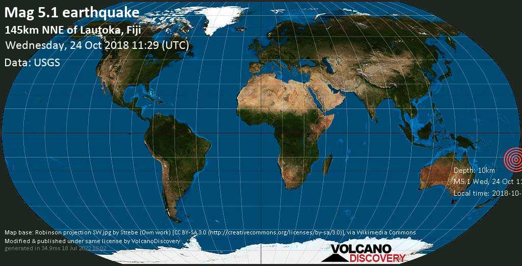 Moderate mag. 5.1 earthquake  - 145km NNE of Lautoka, Fiji on Wednesday, 24 October 2018