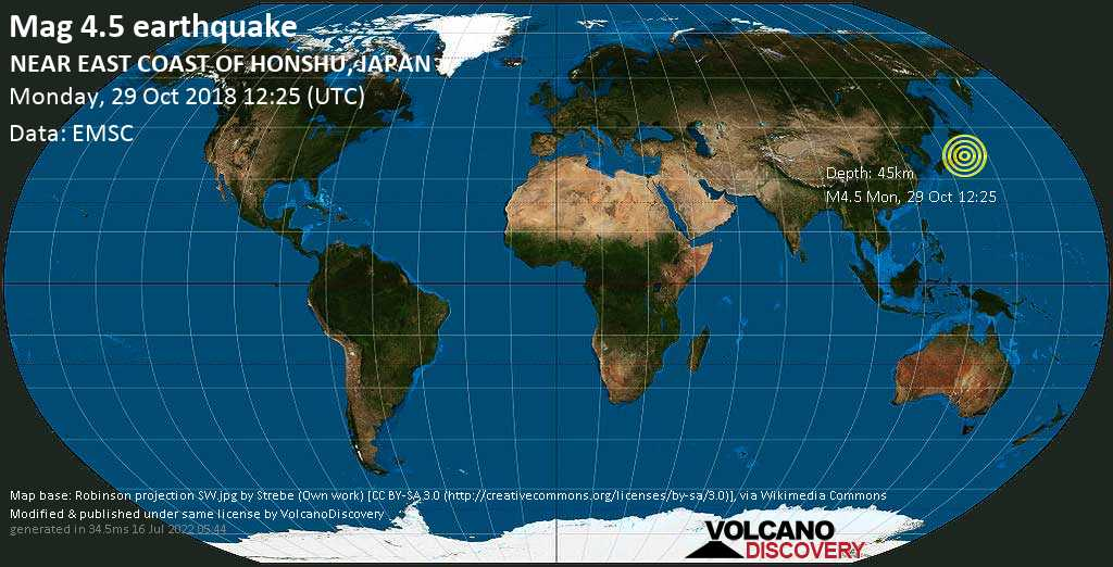 Light mag. 4.5 earthquake  - NEAR EAST COAST OF HONSHU, JAPAN on Monday, 29 October 2018