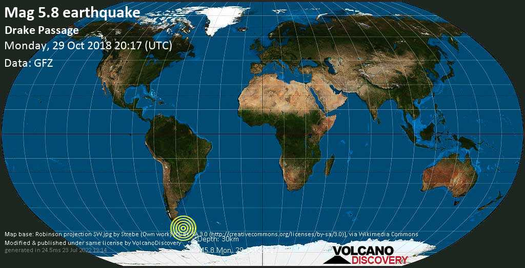 Moderate mag. 5.8 earthquake  - Drake Passage on Monday, 29 October 2018
