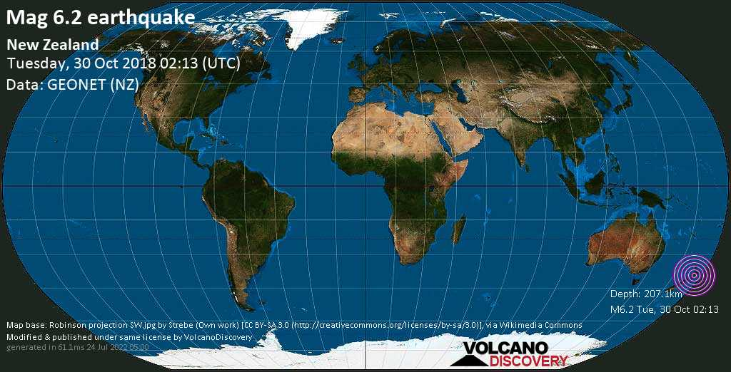 Strong mag. 6.2 earthquake  - New Zealand on Tuesday, 30 October 2018