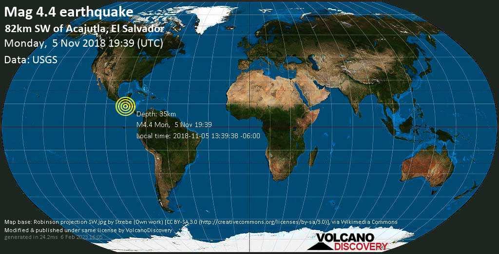 Light mag. 4.4 earthquake  - 82km SW of Acajutla, El Salvador on Monday, 5 November 2018