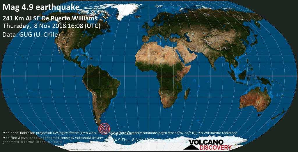 Light mag. 4.9 earthquake  - 241 km al SE de Puerto Williams on Thursday, 8 November 2018