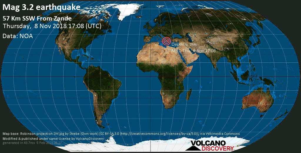 Minor mag. 3.2 earthquake  - 57 Km SSW from Zande on Thursday, 8 November 2018