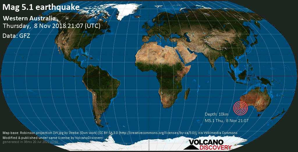 Moderate mag. 5.1 earthquake  - Western Australia on Thursday, 8 November 2018