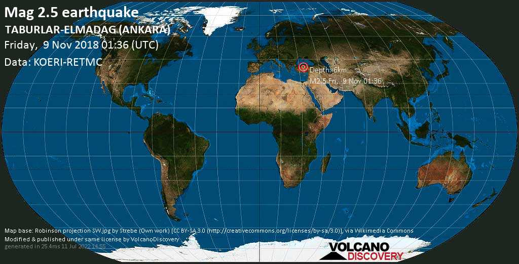 Minor mag. 2.5 earthquake  - TABURLAR-ELMADAG (ANKARA) on Friday, 9 November 2018