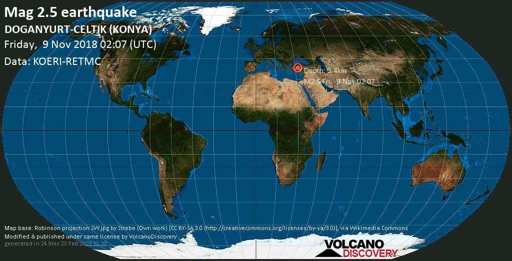 Minor mag. 2.5 earthquake  - DOGANYURT-CELTIK (KONYA) on Friday, 9 November 2018