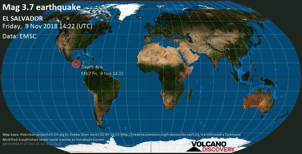 Minor mag. 3.7 earthquake  - EL SALVADOR on Friday, 9 November 2018