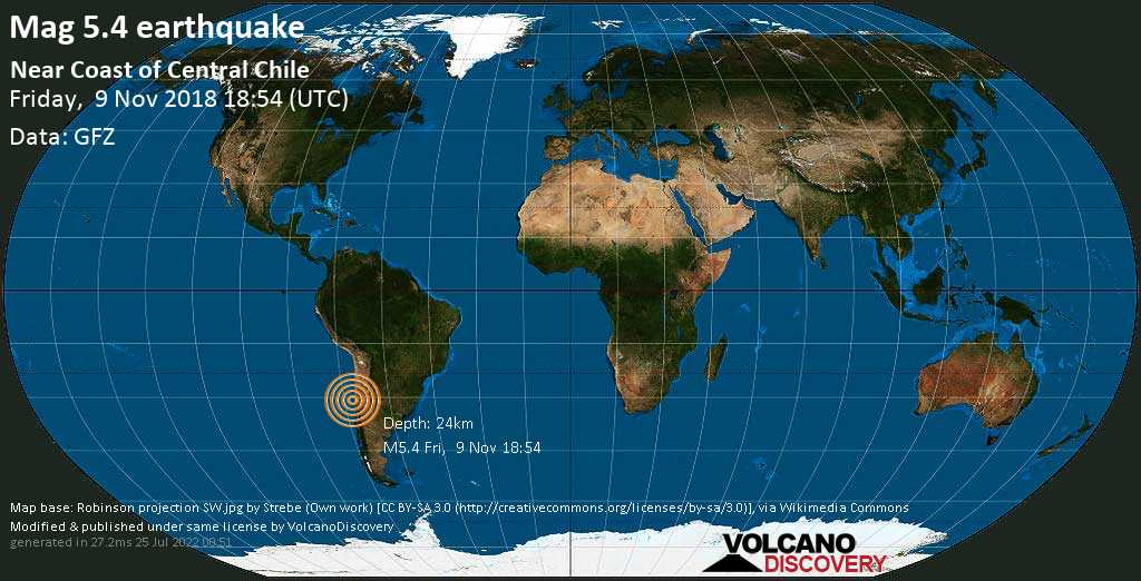 Moderate mag. 5.4 earthquake  - Near Coast of Central Chile on Friday, 9 November 2018