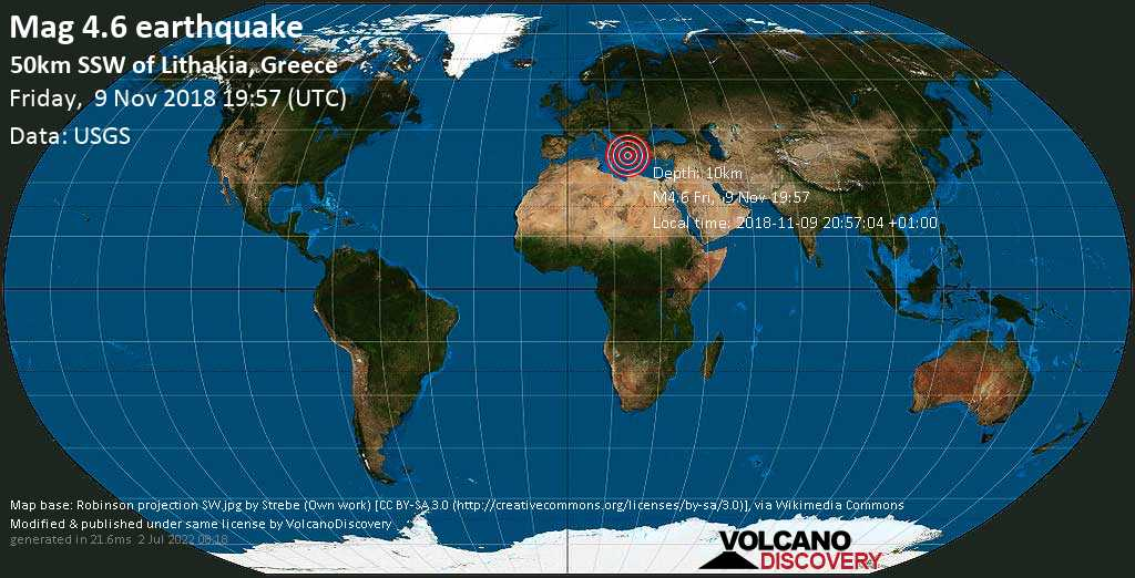 Light mag. 4.6 earthquake  - 50km SSW of Lithakia, Greece on Friday, 9 November 2018