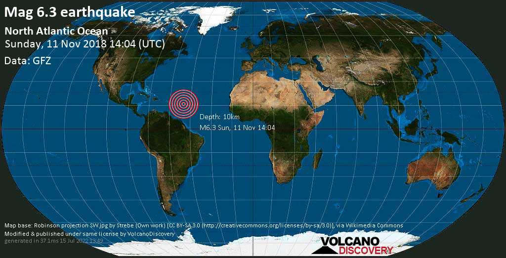 Strong mag. 6.3 earthquake  - North Atlantic Ocean on Sunday, 11 November 2018