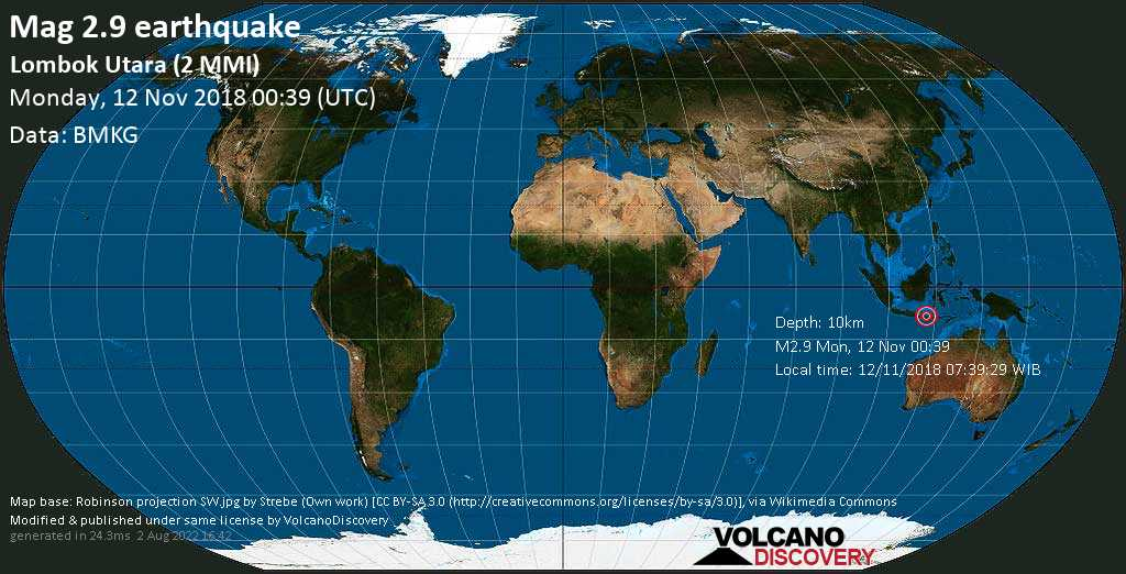 Minor mag. 2.9 earthquake  - Lombok Utara (2 MMI) on Monday, 12 November 2018