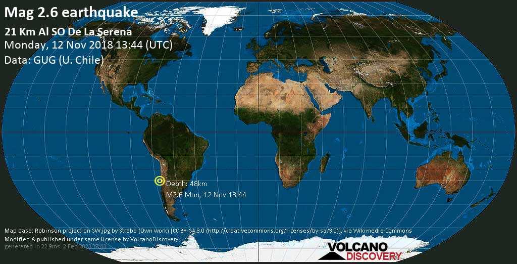 Minor mag. 2.6 earthquake  - 21 km al SO de La Serena on Monday, 12 November 2018