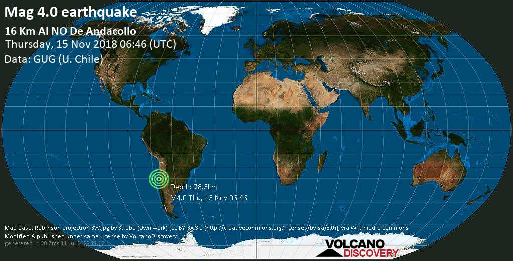 Light mag. 4.0 earthquake  - 16 km al NO de Andacollo on Thursday, 15 November 2018