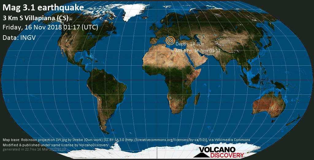 Minor mag. 3.1 earthquake  - 3 km S Villapiana (CS) on Friday, 16 November 2018