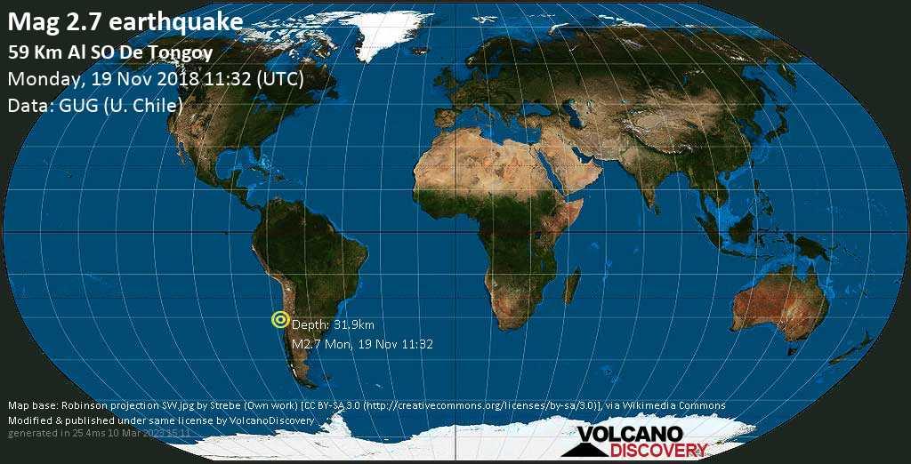 Minor mag. 2.7 earthquake  - 59 km al SO de Tongoy on Monday, 19 November 2018