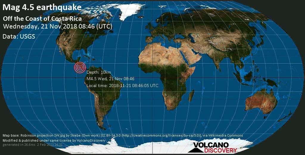 Light mag. 4.5 earthquake  - off the coast of Costa Rica on Wednesday, 21 November 2018