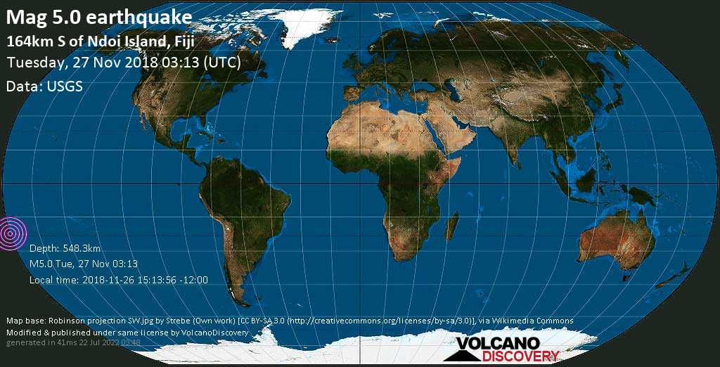 Moderate mag. 5.0 earthquake  - 164km S of Ndoi Island, Fiji on Tuesday, 27 November 2018
