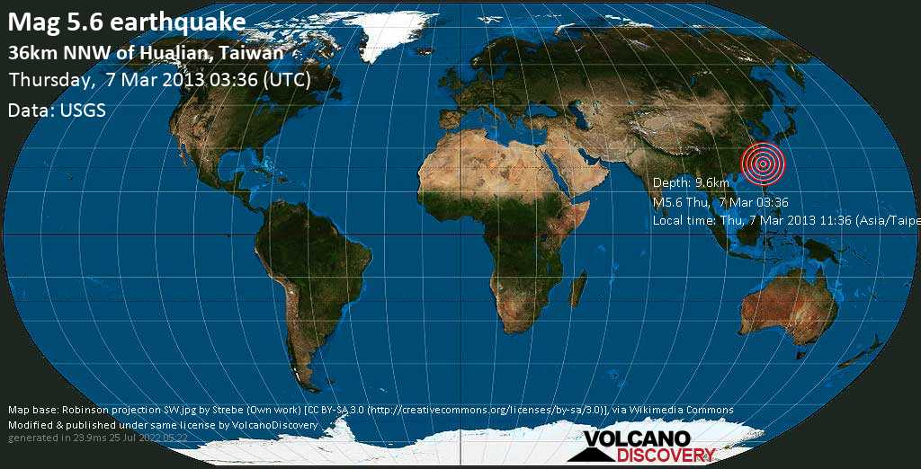 Moderate mag. 5.6 earthquake  - 36km NNW of Hualian, Taiwan on Thursday, 7 March 2013