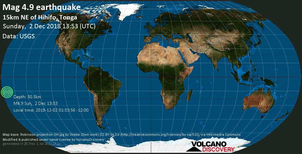Light mag. 4.9 earthquake  - 15km NE of Hihifo, Tonga on Sunday, 2 December 2018
