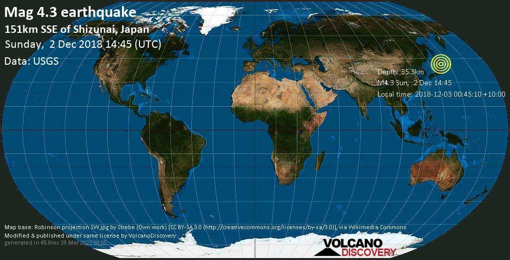 Light mag. 4.3 earthquake  - 151km SSE of Shizunai, Japan on Sunday, 2 December 2018