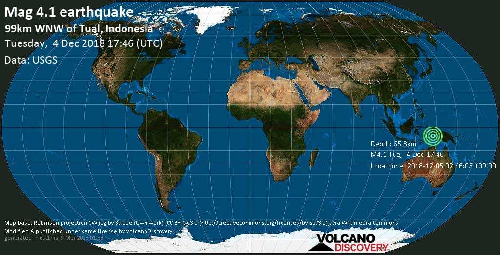 Light mag. 4.1 earthquake  - 99km WNW of Tual, Indonesia on Tuesday, 4 December 2018