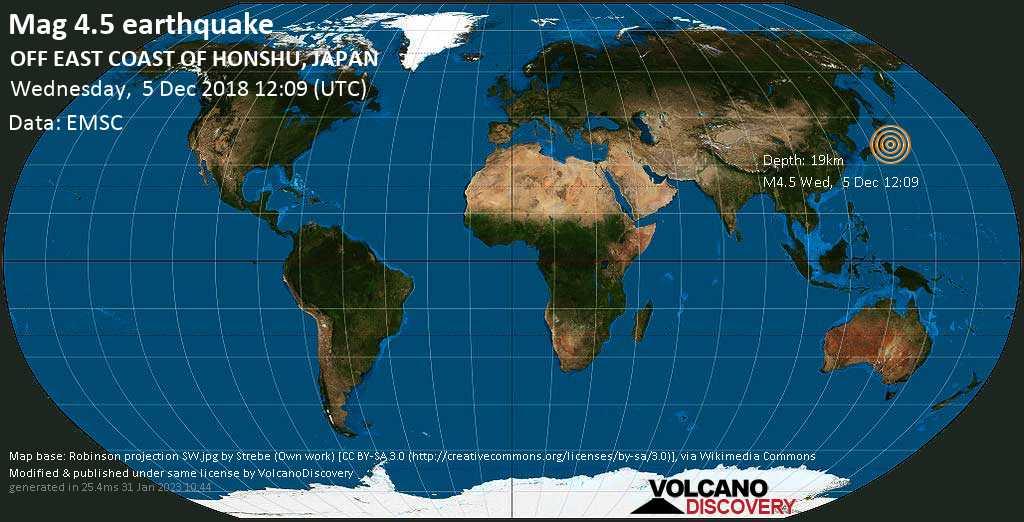 Light mag. 4.5 earthquake  - OFF EAST COAST OF HONSHU, JAPAN on Wednesday, 5 December 2018