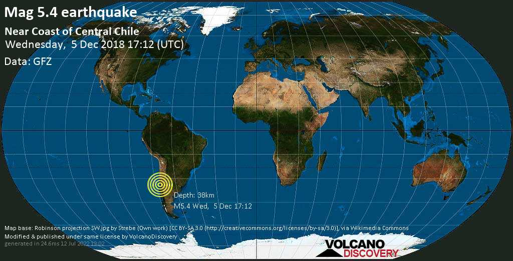 Moderate mag. 5.4 earthquake  - Near Coast of Central Chile on Wednesday, 5 December 2018