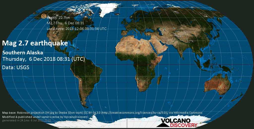 Minor mag. 2.7 earthquake  - Southern Alaska on Thursday, 6 December 2018