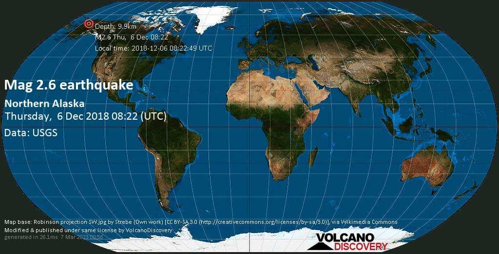 Minor mag. 2.6 earthquake  - northern Alaska on Thursday, 6 December 2018