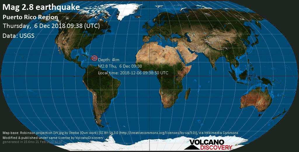 Minor mag. 2.8 earthquake  - Puerto Rico region on Thursday, 6 December 2018