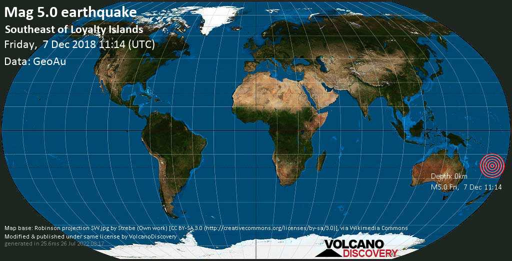 Moderate mag. 5.0 earthquake  - Southeast of Loyalty Islands on Friday, 7 December 2018