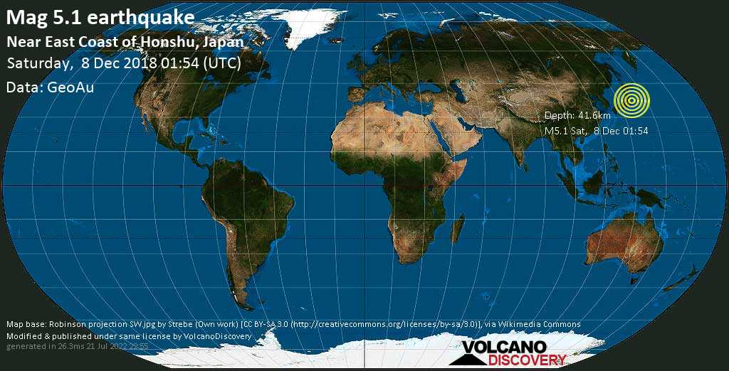 Moderate mag. 5.1 earthquake  - Near East Coast of Honshu, Japan on Saturday, 8 December 2018