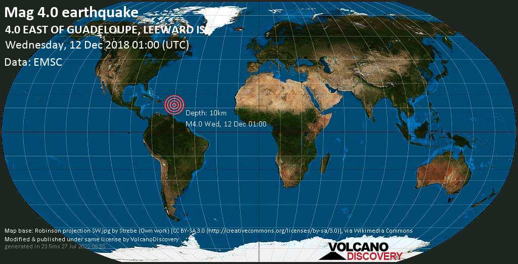 Light mag. 4.0 earthquake  - 4.0  EAST OF GUADELOUPE, LEEWARD ISL. on Wednesday, 12 December 2018