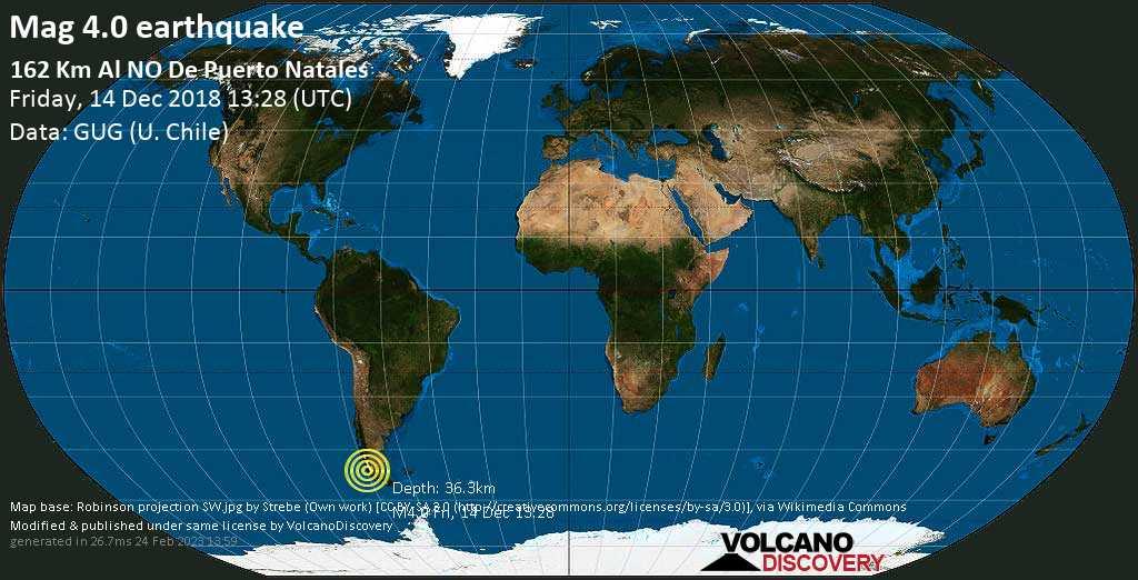 Light mag. 4.0 earthquake  - 162 km al NO de Puerto Natales on Friday, 14 December 2018
